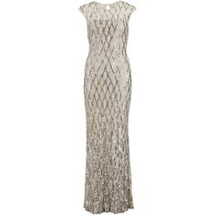 Gina Bacconi Sequin Lace Maxi Dress, Silver (€235) ❤ liked on Polyvore featuring dresses, gowns, evening gowns, plus size evening gowns, evening dresses, lace evening gowns and empire waist evening gown
