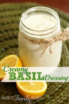 This is my current favorite salad dressing. I LOVE the fresh basil in it. It's a great way to use up your extra basil from your herb garden! #saladdressing #basil