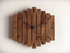 """Wood Wall Clock """"Romb I"""", Wooden Clock, Geometric Clock, Steampunk Vintage… Into The Woods, Hanging Clock, Diy Clock, Cool Clocks, Unique Wall Clocks, Wooden Clock, Wooden Diy, Rustic Walls, Wooden Walls"""
