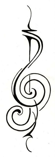 Music treble clef Tattoo Design by ginabeauvais ; this is pretty rad. the downside of music tattoos is at least 200 other people have the exact same one. Music Tattoo Designs, Music Tattoos, New Tattoos, Tribal Tattoos, Tatoos, Sol Tribal, Treble Clef Tattoo, Treble Clef Art, Guitar Tattoo