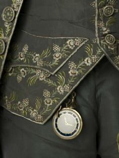 Watch Key & Watch      Production Date: 1779-1799   - Museum of London  note the hand embroidery