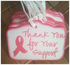 Hope for a Cure 25pc THANKS For Your SUPPORT Fundraiser Bake Sale Tags Breast Cancer Awareness Pink Ribbon Handmade Raspberry Thank You Tags on Etsy, $5.25