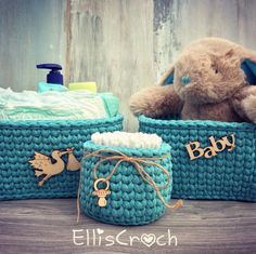 "Newborn ""first-need-things"" storage baskets set 💙"