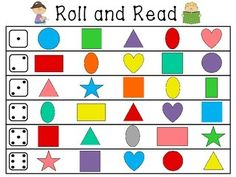 Kindergarten Morning Work Roll and Read Math and Literacy Centers that are super fun - 18 Roll and Read math and literacy stations for little learners to practice basic skills such as letters, numbers, punctuation, 2d shapes, 3d shapes, and more!