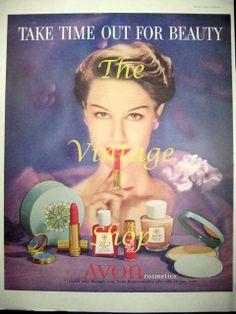 Avon Makeup Beauty..1950s Vintage Advertising. $5.95, via Etsy.