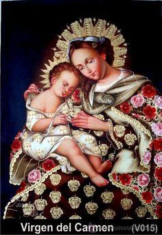 Pintura Cusqueña de la Virgen del Carmen