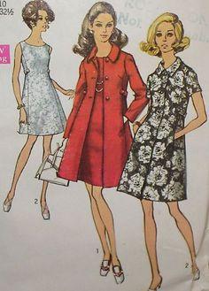 Vtg 60s Simp 8647 Princess Dress & Coat Pattern 32.5B