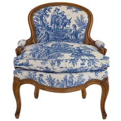 Blue & White Toile Country French Chair   From a unique collection of antique and modern armchairs at http://www.1stdibs.com/furniture/seating/armchairs/