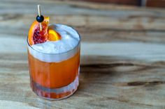 Blood Orange Negroni. London Dry Gin, Regal Rogue Dry Red Vermouth and Aperol topped with blood orange soda.