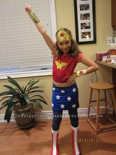 Cool Homemade Wonder Woman Costume for Girls