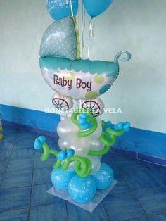 globo  carrito de bebe Balloon Centerpieces, Baby Shower Centerpieces, Balloon Decorations, Baby Shower Favors, Baby Shower Themes, Baby Boy Shower, Balloon Stands, Balloon Display, Baby Boy Balloons