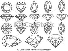diamond line drawing - Google Search use faceted heart as a symbol signature at bottom corner of diamond drawing?