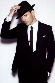 3 piece suit and hat & Michael Fassbender rocking them!