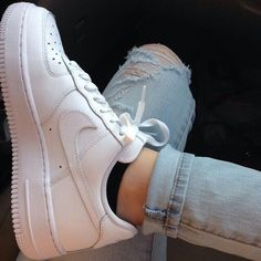 low priced d70db bb019 white nike air force one shoes ✓ black no-show socks ✓ light-wash ripped  jeans, white nike air pressure one sneakers ✓ black no-show socks ✓  light-wash ...