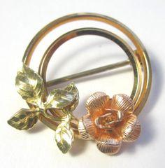 KREMENTZ Beautiful Gold Filled Rose Circle  Vintage Estate BROOCH Pin #Krementz