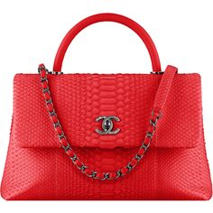 red Chanel featuring polyvore, women's fashion, bags, handbags, chanel, chanel bags, snake print handbags, red hand bags, red bags and top handle purse