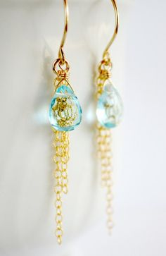Sky blue stone chain earrings gold gold chain - alternate idea, use small stones to hang from the ends of chain, make the chains shorter. Maybe?