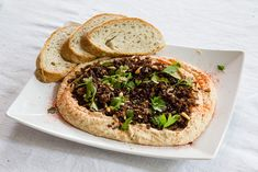 hummus with crispy lamb Middle Eastern Recipes, Salmon Burgers, Avocado Toast, Hummus, Lamb, Good Food, Breakfast, Ethnic Recipes, Morning Coffee