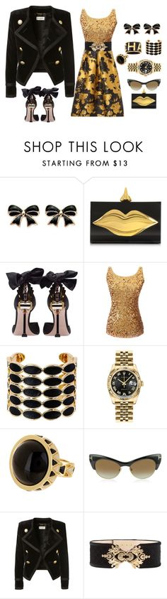 """Life of the party"" by ellenfischerbeauty ❤ liked on Polyvore featuring Charlotte Olympia, Chanel, Miu Miu, House of Harlow 1960, Rolex, Tom Ford, Yves Saint Laurent and Balmain"