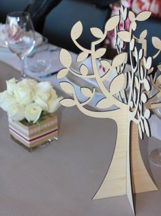 A custom table decoration we laser-cut for a confirmation.