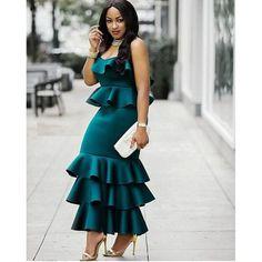 African Dress for women/ Asymmetrical long dress/ Ruffled/ Dashiki Cape Dress/ Prom Dress/ Casual Dress/ Summer Dress/Kitenge/ Kente African Lace Dresses, Latest African Fashion Dresses, African Dresses For Women, African Print Fashion, African Wear, African Attire, 50s Dresses, African Women, Maxi Dresses