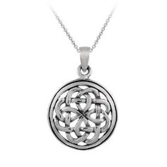 "Sterling Silver Celtic Knot Round Pendant , 18"", (celtic jewelry)"