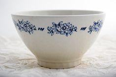 Vintage French cafe au lait bowl sweet blue by LaCroixRosion, $18.00