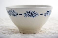 Blue on white cafe au lait bowl, by LaCroixRosion on etsy ~