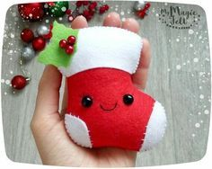 Smiling Christmas stocking felt ornament