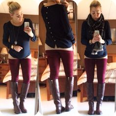 Button back blouse - forever21, wine colored skinnies & tory burch boots @mbrauns