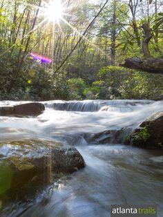 Moccasin Creek tumbles over boulders near the Hemlock Falls Trail at Lake Burton