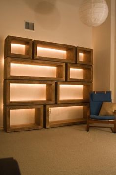Learn shelf lighting ideas to light up your shelf while providing even lighting throughout your whole room.LA Lounge is an expert when it comes to shelf lighting such as miniature shelf lighting, LED shelf lights and other shelf lighting. Woodworking Furniture Plans, Modular Furniture, Fine Woodworking, Diy Furniture, Woodworking Projects, Furniture Design, Luxury Furniture, Geometric Furniture, Woodworking Beginner