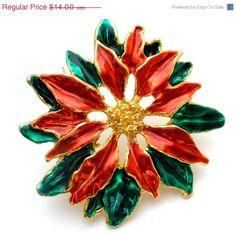 Christmas Red Green Poinsetta Brooch Enamel Large Pin  Large gold tone enamel Christmas poinsetta brooch  Has red and green enamel  Measures