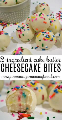 No Bake 2 Ingredient Cake Batter Cheesecake Bites - Morgan Manages Mommyhood . - No Bake 2 Ingredient Cake Batter Cheesecake Bites – Morgan Manages Mommyhood – # - Yummy Snacks, Delicious Desserts, Yummy Food, Healthy Food, No Bake Snacks, Delicious Cookies, No Bake Party Food, Healthy Protein Balls, Simple Dessert Recipes