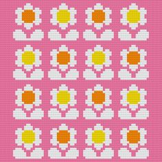 Kitschy Digitals :: Sewing & Needlework Patterns :: Flower Pop Cross-Stitch Pattern