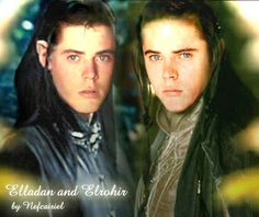 I think this is what Elrohir (left) and Elladan (right) look like. Sons of Elrond.