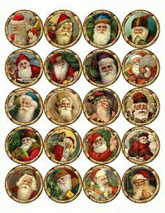Christmas printables Transfer mod podge to birch slice Miniature Christmas, Christmas Minis, Victorian Christmas, Christmas Pictures, Christmas Projects, Vintage Christmas, Christmas Graphics, Vintage Santas, Christmas Printables