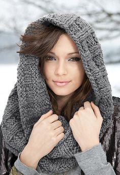 Free knitting pattern for Lara's Cowl hood and more hood knitting patterns