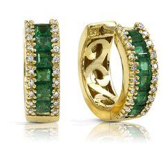 Gold; Yellow; Emerald; Green; Princess; Diamond; White; Round; Earrings; Hoop