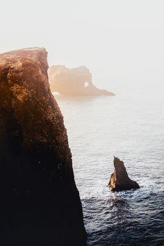 Dyrholaey Rocks, Iceland  Landscape Artwork from Danscape.co  #iceland #coastal #sunrise #rocks #cliffs #artwork #nature #wallart #travel #destinations