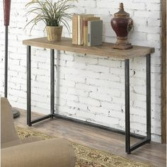 Convenience Concepts Laredo Parquet Console Table, As Shown Entryway Decor, Office Decor, Entryway Tables, Plywood Furniture, Furniture Design, Table Color, Industrial Console Tables, Couch Table, Piece A Vivre