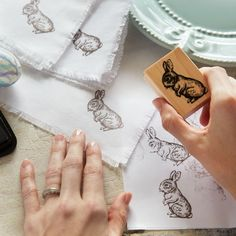 Make plain napkins special for the season when you DIY these Easter Bunny Stamped Napkins