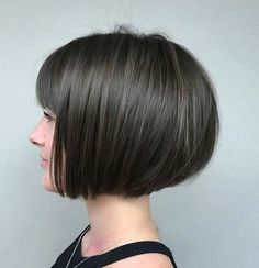 Jaw-Length Rounded Bob with Bangs