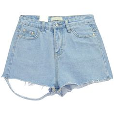 Chicnova Fashion Distressed Denim Shorts ($14) ❤ liked on Polyvore featuring shorts, high-waisted shorts, distressed shorts, destroyed high waisted shorts, highwaist shorts and ripped shorts