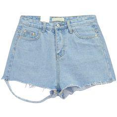 Chicnova Fashion Distressed Denim Shorts (260 MXN) ❤ liked on Polyvore featuring shorts, bottoms, short, denim shorts, high-waisted denim shorts, ripped jean shorts, distressed high waisted shorts and short jean shorts