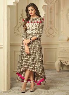 Shop readymade brown rayon partywear printed kurti , freeshipping all over the world , Item code Batik Fashion, Ethnic Fashion, Indian Fashion, Stylish Dress Designs, Stylish Dresses, Casual Dresses, Stylish Kurtis, Pakistani Dresses, Indian Dresses
