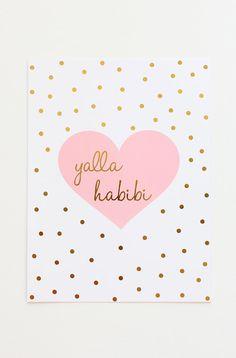 Yallah Habibi Gold Foil Print