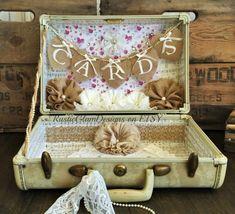 Vintage Suitcase Wedding Card Holder Shabby Chic Wedding Rustic Country Wedding Vintage Suitcase Wedding, Vintage Lace Weddings, Vintage Suitcases, Vintage Luggage, Chic Wedding, Trendy Wedding, Rustic Wedding, Wedding Country, Wedding Ideas