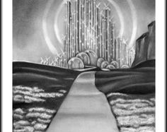 Original Artwork The Wizard of Oz Emerald City Drawing Charcoal Graphite Signed