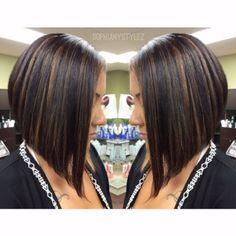 A Line Bob Cut Dramatic A Line Bob Haircut Dark Brown Base Highlights